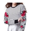 Women Sleeve Rose Embroidered Striped Blouse Long Sleeve