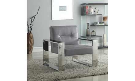 Miel Polished Metal Frame Accent Chair