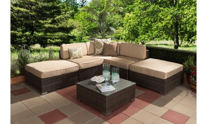 Viva Outdoor Patio Sectional Sofa Set (6 Piece) ...