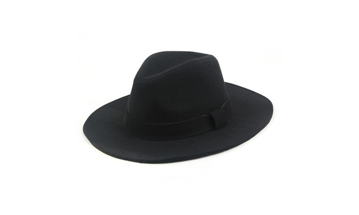 Classic Vintage Winter Wide Brim Fedora Hat 961SH - Black