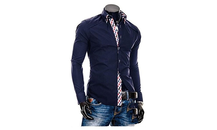 Men Cotton Turn Down Collar Plaid Lappet Slim Fit Sweatshirt Shirts  - Navy / US S(Asian M)
