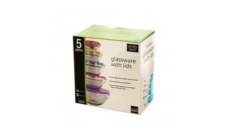 Glass Bowl Storage w/ Lids 5pc Set 7f241038-06f8-4c27-bfc8-a945de6067a9