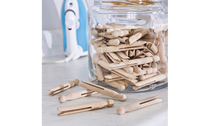 100 Pk Round Wood Clothespins Groupon