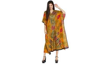 4efed908f46 Shop Groupon Yellow Maxi Caftans Floral Kaftan Dress Womens Plus Size  Kaftan Full Length Long