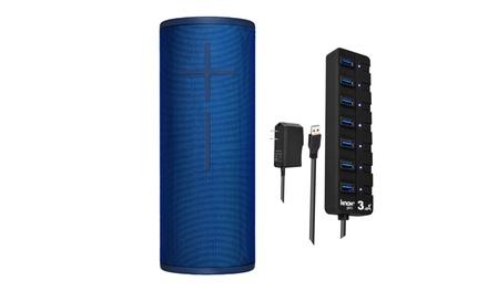 Ultimate Ears MEGABOOM 3 Wireless Bluetooth Speaker (Blue) and USB 3.0 Hub
