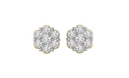 138f8b608 Shop Groupon 1/4 cttw Round Cut Natural Diamond Flower Stud Earrings 14K  Yellow Gold