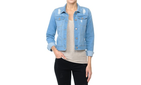 90126XL Womens Plus Size, Cropped Ripped Denim Jackets Long Sleeve Jean Coats