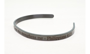 Solid Stainless Steel 5mm Holy Scripture Cuff in Black by Pink Box