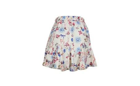 Floral Print Ruffle A Line High Waist Mini Skirt 02118b67-d1eb-467c-8f8f-12bf644642e9