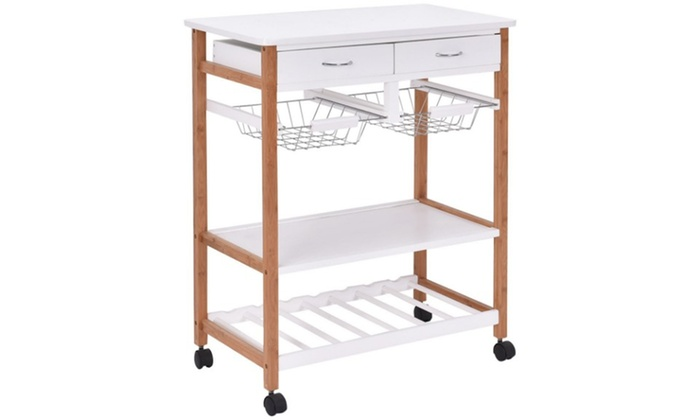 Rolling Wood Kitchen Trolley Cart Island Storage Basket Wine Rack with  Drawers