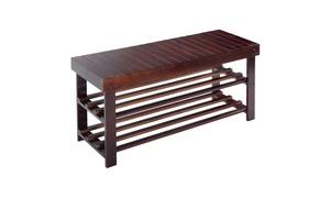 36'' Solid Wood Shoe Bench Storage Racks Seat Organizer Entryway