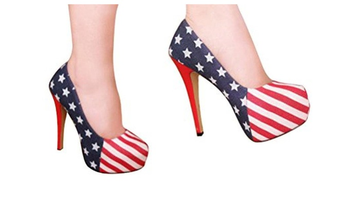 YINHAN® Women's American Flag Platform High Heels Stiletto Shoes - Red 2 / 11 B(M) US