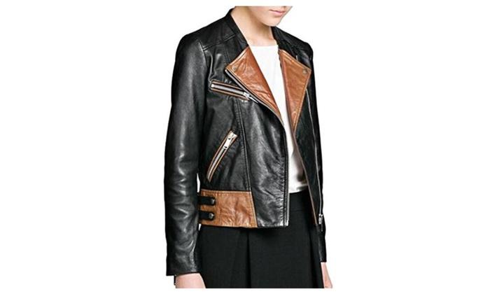 JEWOSSR Women's Fashion Zipper Motorcycle Biker Faux Leather Jackets