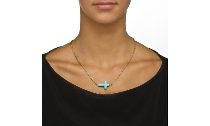 Viennese Turquoise Horizontal Cross Necklace In Yellow