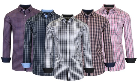 Men's Long Sleeve Slim-Fit Cotton Dress Shirts With Chest Pocket (S-2XL)