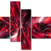 Red Implosion - Large Abstract Wall Art - 63x32 - 4 Panels