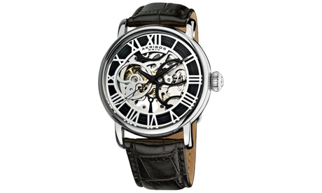 Akribos XXIV Men's Mechanical Skeleton Leather Strap Watch AKGP540 460a450d-9361-4fc7-8fb8-68a73768a6e1