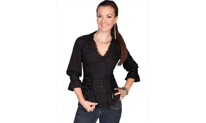 6c9a08adc4 Scully PSL-048-BLK-XS Female Cantina Ruffle Lace Corset Western Shirt Black  ...