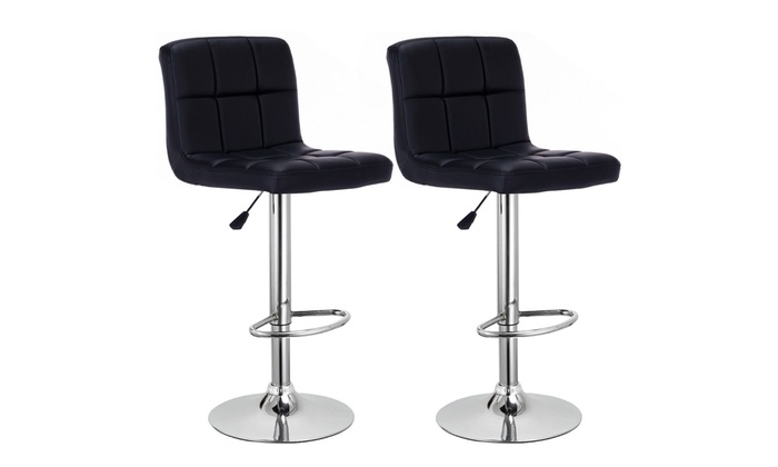 Magnificent Adjustable Black Pu Leather Swivel Pub Bar Stool Set 2 Piece Uwap Interior Chair Design Uwaporg