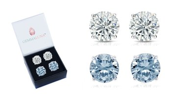 4.00 CTTW White and Blue Topaz Stud Earrings by Gemma Luna (2-Pack)