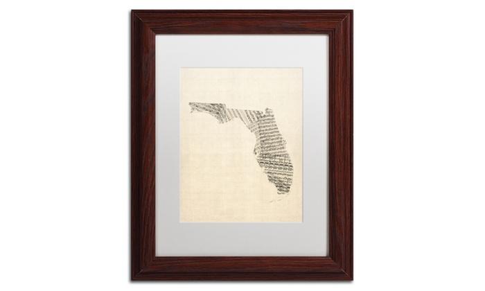 Michael Tompsett Old Sheet Music Map Of Florida Matted Framed Art