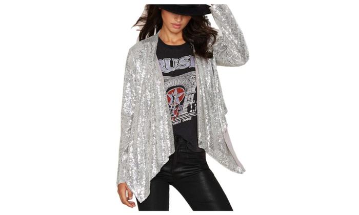 Women's Fashion Casual Long Sleeve Shiny Nightclub Coats