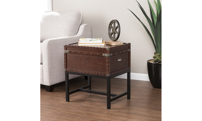Voyager Storage Side Table Trunk Espresso W Black And Antique Bronze