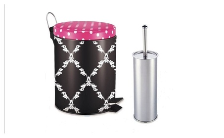 Heim Concept 2 pc Step On Round Metal Trash Bin (5L) with Toilet Brush 202708ef-ae82-44f6-aa7a-990541159028