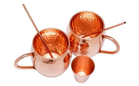 Pure Moscow Mule Copper Mugs Set with Bonus Shot Glass & Copper Straws f9b1c310-bc3f-42dc-9c10-7d558c5d3e7b