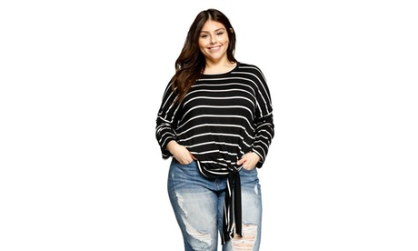 Xehar Women's Plus Size Lightweight Striped Knit Dolman Shirt Top 948d7068-56b2-45fb-91cd-e940fc005631