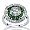 3.26 TCW Round CZ and Emerald Halo Ring in Platinum over .925 Silver