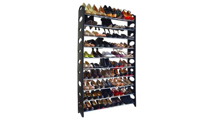 10 Storey 50 Pairs Of Shoes Storage Organizer Rack Simple Shoe Cabinet ...