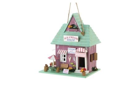 Old Fashioned Ice Cream Shop Inspired Wooden Garden Birdhouse