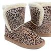 Girls Fur Rhinestone Faux Shearling Leopard Round Toe Ankle Boot Kids