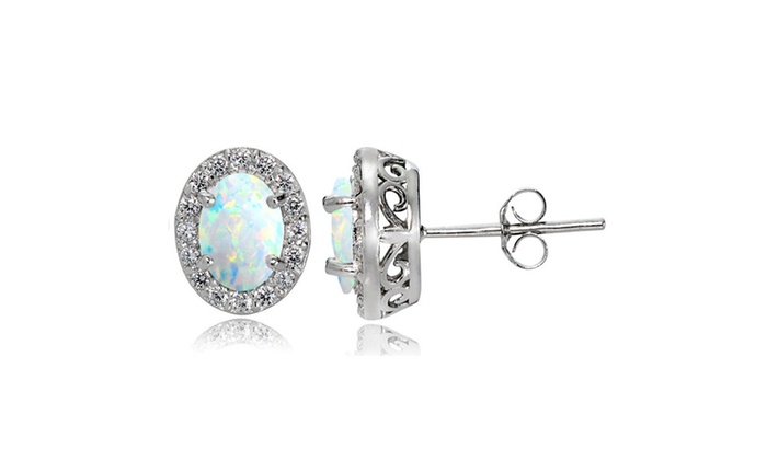 Groupon Goods Sterling Silver Created Opal And White Topaz Oval Halo Stud Earrings