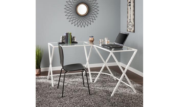 Aaron Metal Glass L Shape Corner Desk White