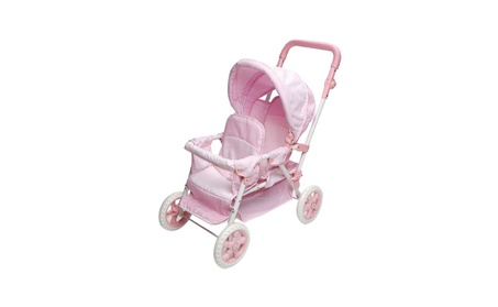 Folding Double Doll Front-to-Back Stroller - Pink Gingham da92d817-75ed-4a76-aabf-7025d5081979