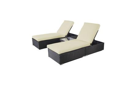 3 Piece Wicker Rattan Chaise Lounge Chair Set Patio Steel Furniture af72dbff-05ca-41bd-bc29-f0e915e7ad22