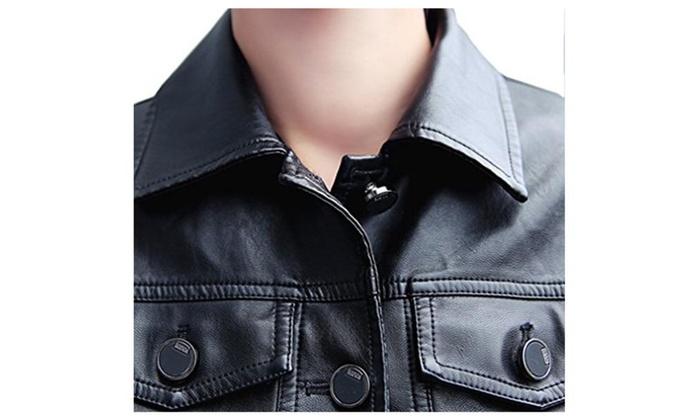 Bigood Women Outdoors Chic Button Zip Up Biker Jacket Coat