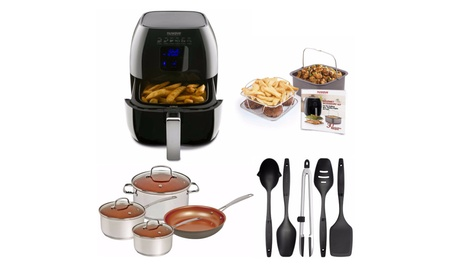 "Nuwave Duralon 7pc Cookware Set w/ 10.5"" Frying Pan, Air Fryer 5pc set d3ee8cd8-9ffe-47e1-b0fe-88df4571c97a"