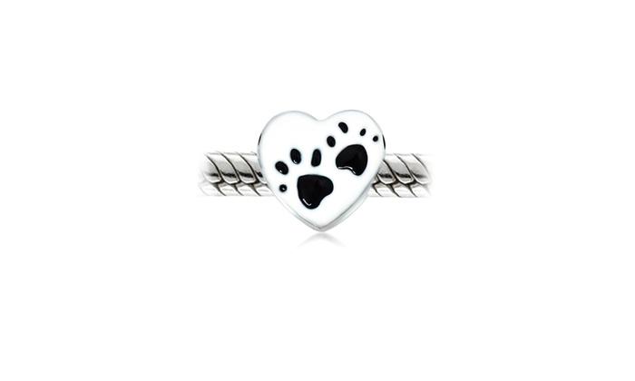 fb1258201 Bling Jewelry 925 Silver Enamel Heart Paw Print Charm Animal Bead