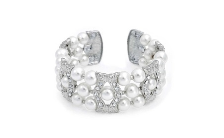 Bling Jewelry Simulated Pearl Crystal Cuff Bracelet Rhodium Plated ce58b800-0cc3-4df0-853c-45c9c588bdc1