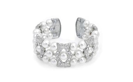 Bling Jewelry Simulated Pearl Crystal Cuff Bracelet Rhodium Plated ce58b800-0cc3-4df0-853c-45c9c588bdc1