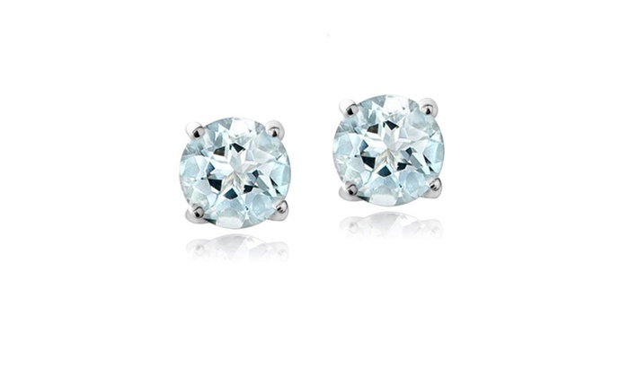 Sterling Silver 4 Mm Round Lab Created Aquamarine Stud Earrings