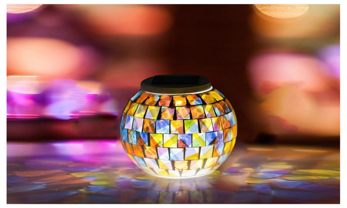 Color Changing Solar Powered Mosaic Glass Ball Garden Lights