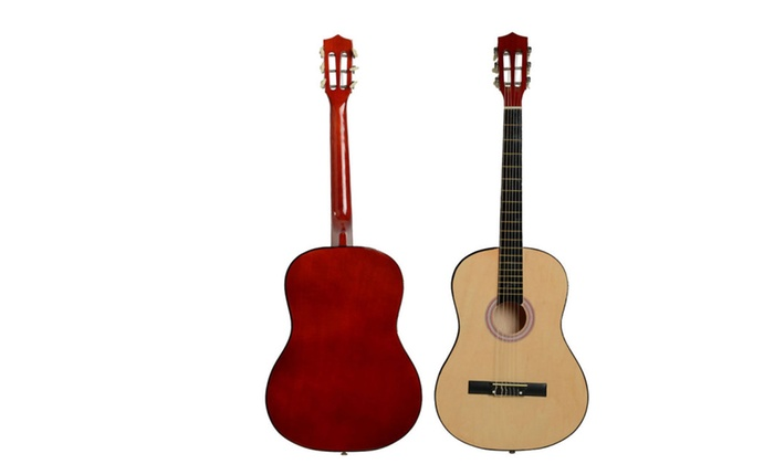 New 38 Basswood Fingerboard Classical Acoustic Guitar Wood Color