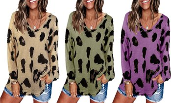 Women's V-Neck Leopard Top S-2X    by Haute Edition