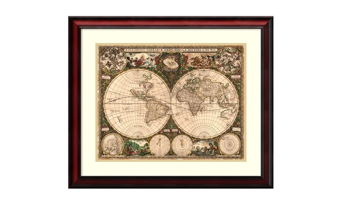 Ward maps world map 1660 framed art print 29x25 in groupon ward maps world map 1660 framed art print gumiabroncs Images