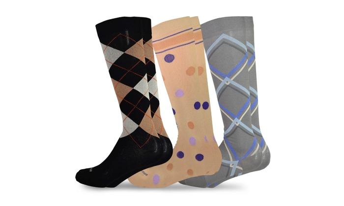 82d0550aa TeeHee Compression Knee High Socks with Rib 3-Pack (Pattern)