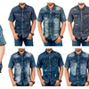 BRANDS UNLIMITED Mens Denim Casual Shirt with Patterns Short Sleeves